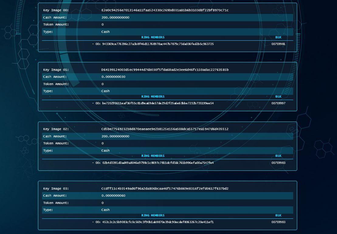 Key Images Safex Blockchain Explorer