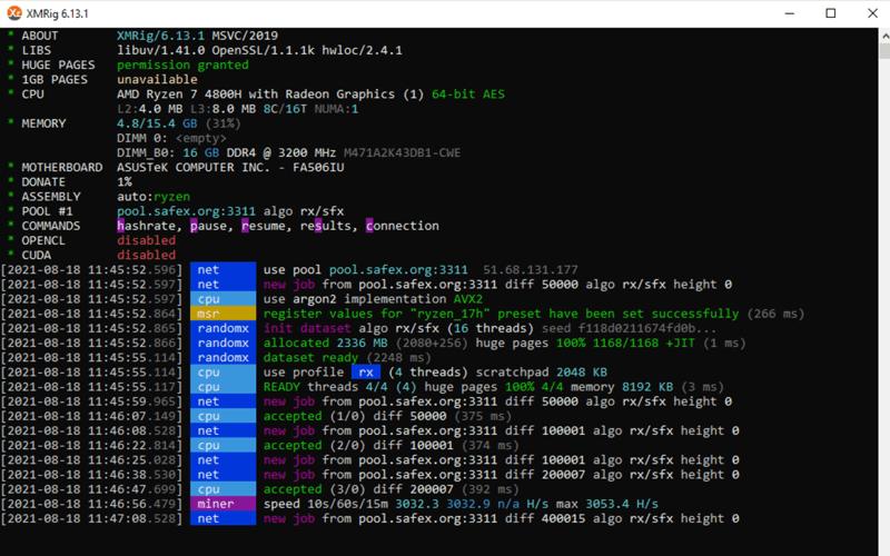 Mining SFX Using xmrig on a Windows PC