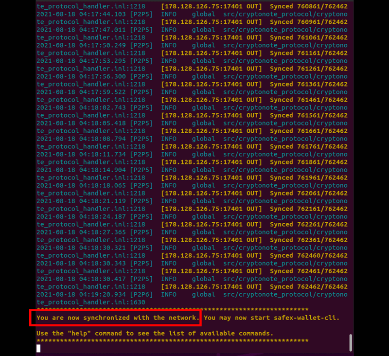 Safex Blockchain Synchronization Ubuntu