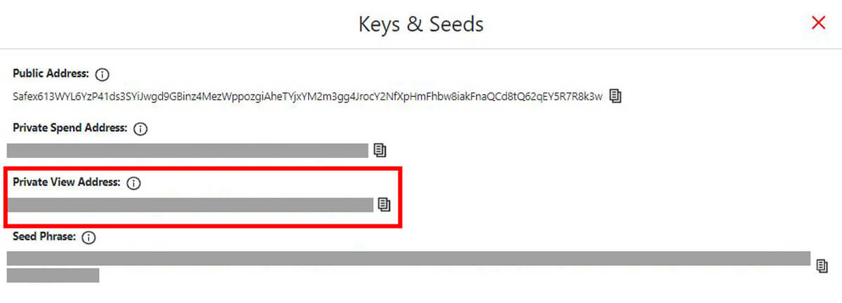 Safex Keys and Seeds