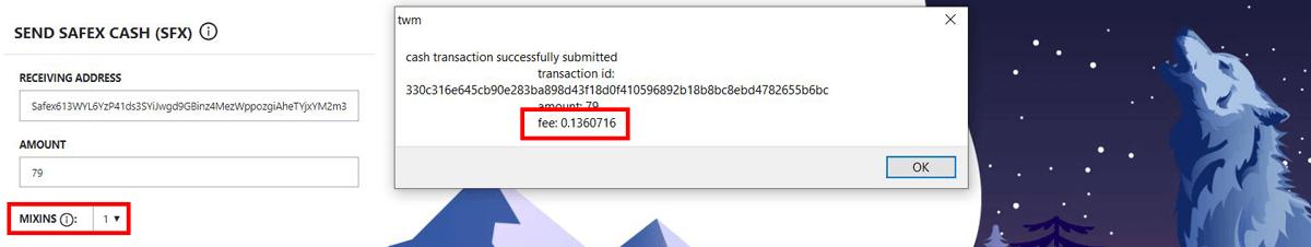 Safex Transaction Fee