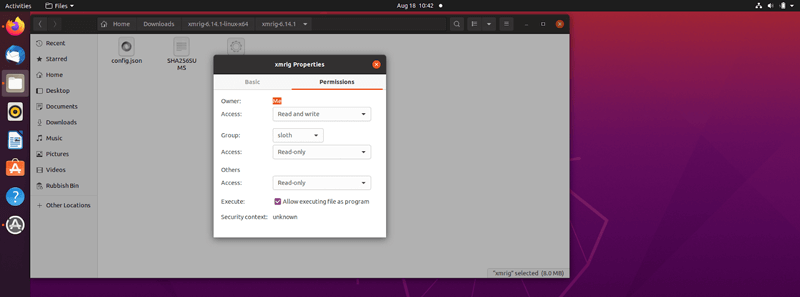 Safex Xmrig Application File on a Ubuntu