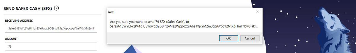 Sending Safex Cash From the Wallet