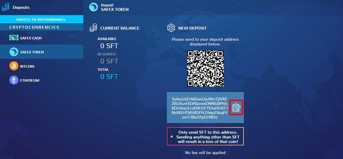 Safex Token Address on Xcalibra Exchange