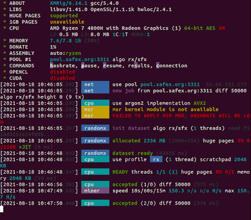 Xmrig Mining Application on a Ubuntu