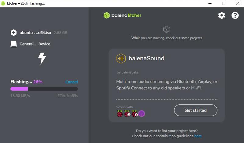 Balena Etcher Software Ubuntu Flashing