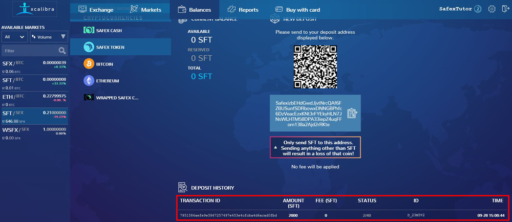 How to send Safex Coins to the Exchange Deposit History