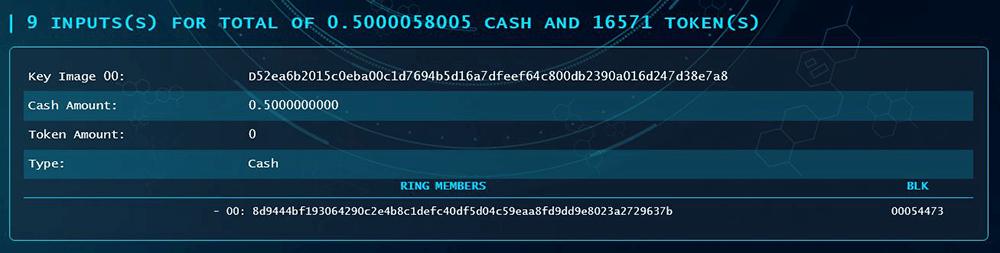 Safex Blockchain Explorer Inputs
