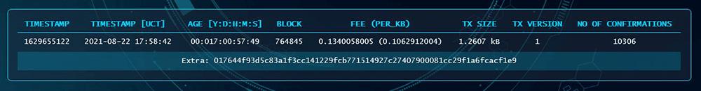 Safex Blockchain Explorer Transaction TimeStamp Information