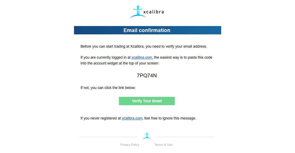 Verify an Email Xcalibra Exchange