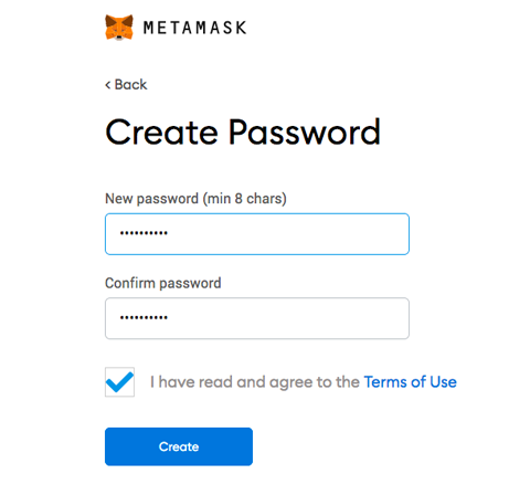 Install MetaMask Wallet Create Pasword