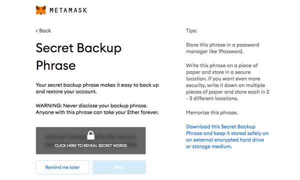 Install MetaMask Wallet Back Up Phrase