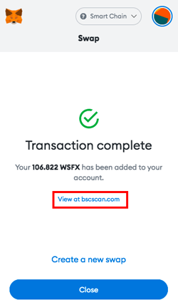 PancakeSwap Get Wrapped Safex Cash WSFX Transaction completed
